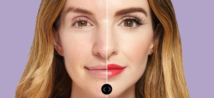 split image of a woman with a before and after applying makeup